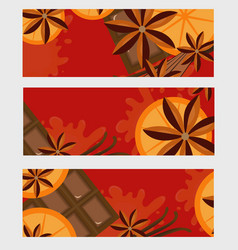 Red background with orange cinnamon and chocolate vector