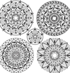 Set mandalas with geometric patterns vector image vector image
