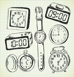 set of various watch and clock doodle vector image vector image