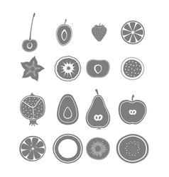 Set with fruit icons vector