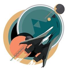 Spacecraft spaceship in space planet vector image
