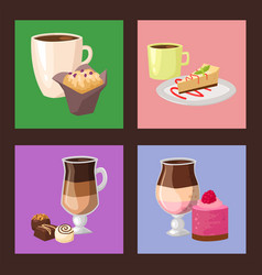 Sweet hazelnut muffins delicious cake coffee cup vector