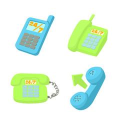 Telephone icon set cartoon style vector