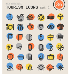 Tourism bold linear icons vector