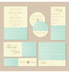 Wedding cards blue vector