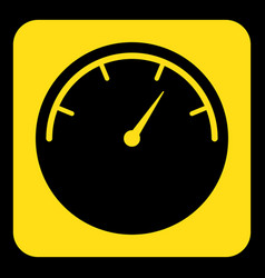 yellow black sign - gauge dial symbol icon vector image vector image