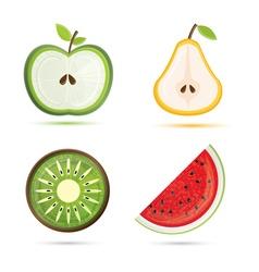 Fruit set Pear apple watermelon kiwi vector image