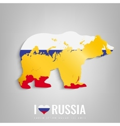 National russia symbol bear with an official flag vector