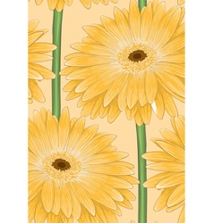 Seamless background with yellow gerbera vector