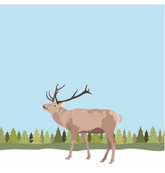 Deer with antler on seamless background of tree vector