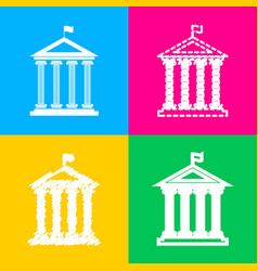 Historical building with flag four styles of icon vector