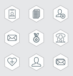 set of 9 social icons includes medal mailbox vector image