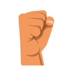 Human raised fist symbol of rebellion militance vector