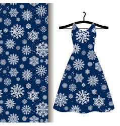 Women dress fabric pattern with snowflakes vector