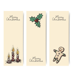 christmas vertical banners vintage drawings style vector image