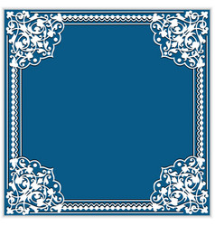 Square cutout paper frame with lace corner vector