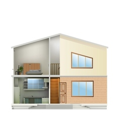 House cut with interiors and part facade vector