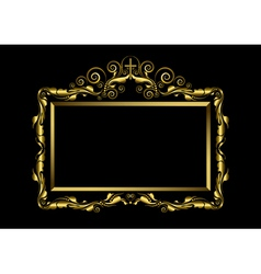 Luxury gold frame on black background vector
