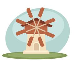 windmill in field vector image