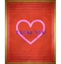 Retro valentines day card with heart shape vector