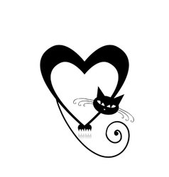 Love cat silhouette for your design vector