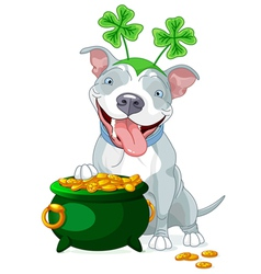 Pit bull celebrates saint patrick day vector