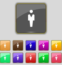 Human man person male toilet icon sign set with vector