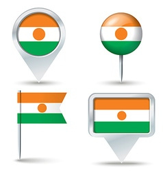 Map pins with flag of niger vector