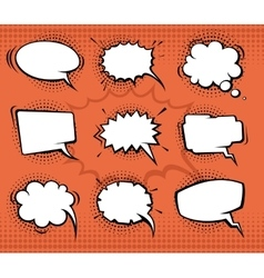 Comic speech bubbles funny balloons with halftone vector