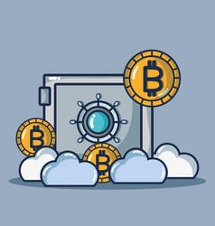 Bitcoin digital money security technology vector