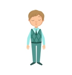 Boy in blue pants and vest happy schoolkid in vector