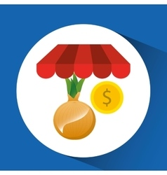 Buying online onion vegetable icon vector