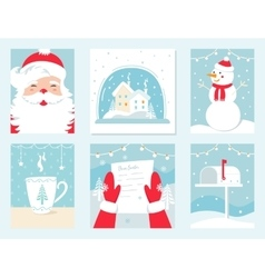 Christmas and winter holidays cards santa vector