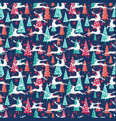 Christmas pattern - xmas trees deers and vector