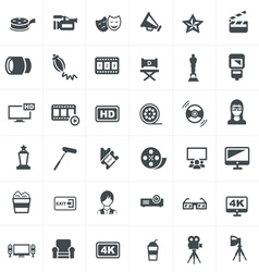 Cinema And Movie Icons Set Design vector image
