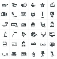 Cinema and movie icons set design vector