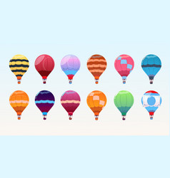 Colorful air balloons set airship collection vector