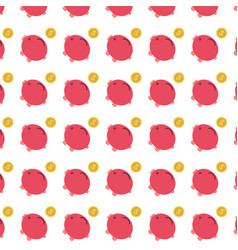 Flat red piggy bank with gold coin pattern vector