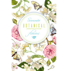 flower butterfly banner vector image