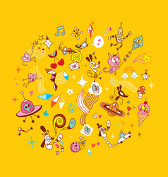 Fun cartoon characters group design elements vector