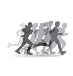 group people business running monochrome vector image vector image