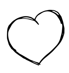 hand drawn heart Isolateddoodle vector image vector image