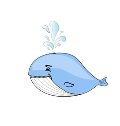 Happy blue whale cartoon vector image