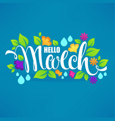 Hello march banner design template with images vector