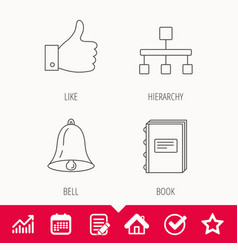 Hierarchy like and bell icons vector