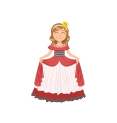 Little girl in red dress dressed as fairy tale vector
