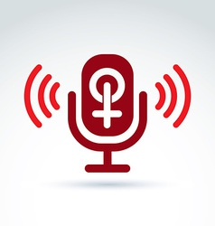 Microphone with a red female sign woman gender vector