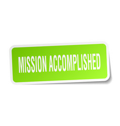 Mission accomplished square sticker on white vector