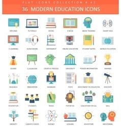 Modern education flat icon set Elegant vector image vector image