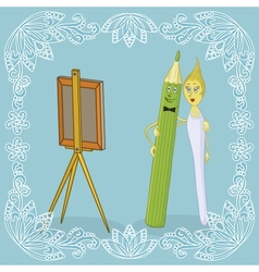 Pencil brush and easel vector image vector image